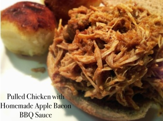 Crock Pot Pulled Chicken with Homemade Apple Bacon BBQ Sauce via She Wines Sometimes