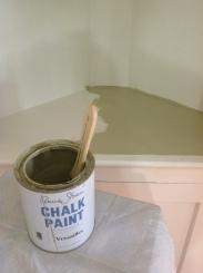 Painted corner built in. Annie Sloan Chalk Paint in Versailles.